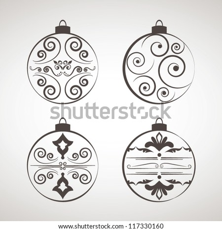 Decorations For Christmas, Christmas decoration set - lots of calligraphic elements