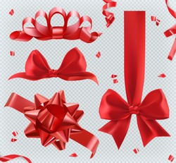 Decorations. Red bows. 3d set of vector icons