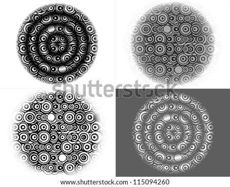 Decorative abstract elements in dot circle retro style