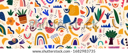 Decorative abstract seamless pattern with colorful doodles. Hand-drawn modern collection