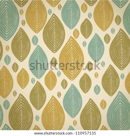 Decorative abstract vintage leaves seamless pattern.Seamless retro light texture