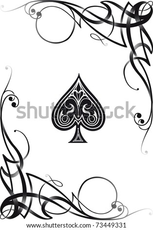 Decorative Ace Card, VECTOR RE-SIZABLE.