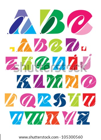 decorative alphabet - stock vector