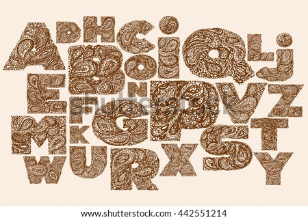 Decorative Alphabet With A Paisley Zen Doodle Tattoo Ornaments Filling Display Font Large Letters