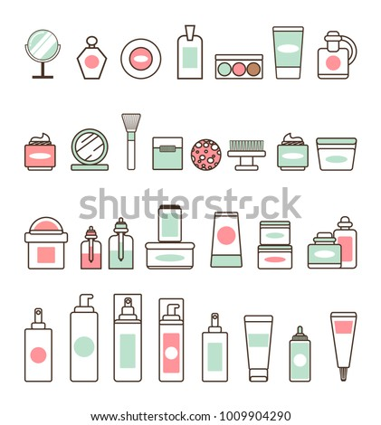 Decorative and skincare cosmetics isolated minimalistic cartoon flat vector illustrations set on white background. Bottles of beauty means outline.