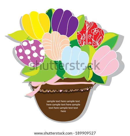 decorative and stylized vector background of a bouquet of flowers tulips with text in pot