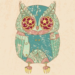 Decorative animal. Steam punk owl.