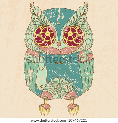 Decorative animal Steam punk owl.