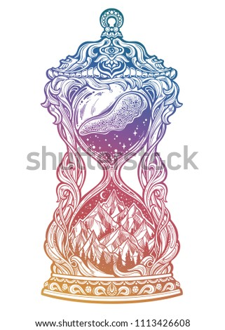 a027557d Decorative antique hourglass with mountains, stars and moon illustration.  Hand drawn sand clock isolated