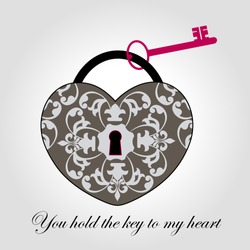 Decorative Antique Lock with Key  - Heart Shaped
