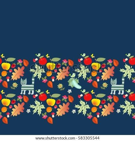 decorative autumn border with