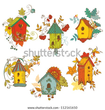 Decorative Autumn branches with Birdhouses - for scrapbook and design in vector