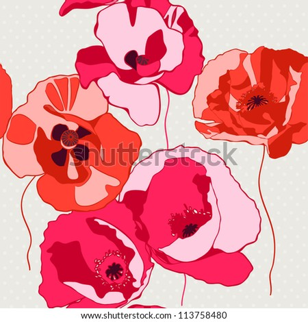Decorative background with poppies flower. Seamless pattern. Vector illustration