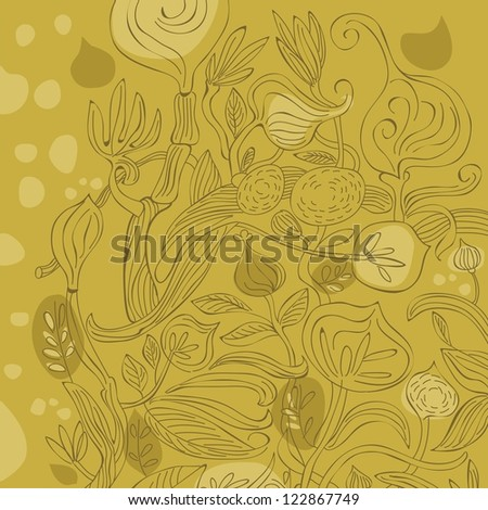 Decorative background with various floral and plant elements