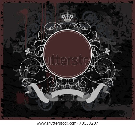 Decorative banner with round element.  All elements and textures are individual objects. Vector illustration scale to any size.