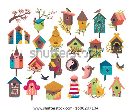 Decorative bird house vector illustration set. Cartoon cute birdhouse for flying birds, cute birdbox, colorful birdie wooden home on garden tree branch with spring flowers flat icons isolated on white Stockfoto ©