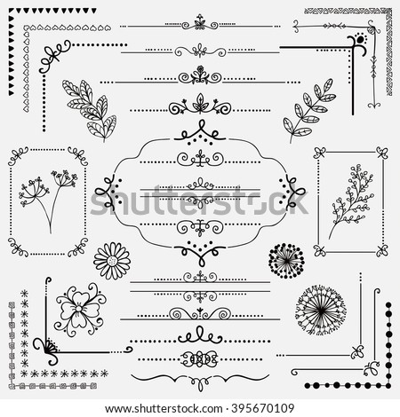 Decorative Black Hand Sketched Rustic Floral Doodle Corners, Branches, Frames, Dividers, Text Frames, Border Lines, Page Calligraphic Design Elements. Hand Drawing Vector Illustration.