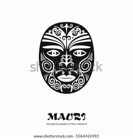 Decorative black Mask Maori on a white background. Vector hand drawn illustration.