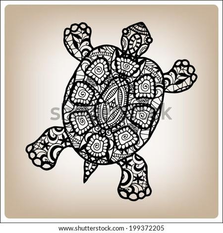 decorative black turtle  hand