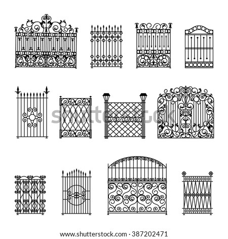 decorative black white fences