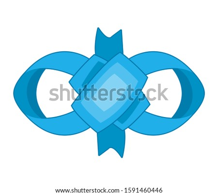 Decorative blue bow. Vector bow for page decor isolated. Girl bows on hair or gifts decorating. Isolated vector on white background