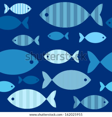 decorative blue fishes on blue seamless pattern