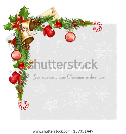 Decorative border from a traditional  Christmas objects. Vector illustration