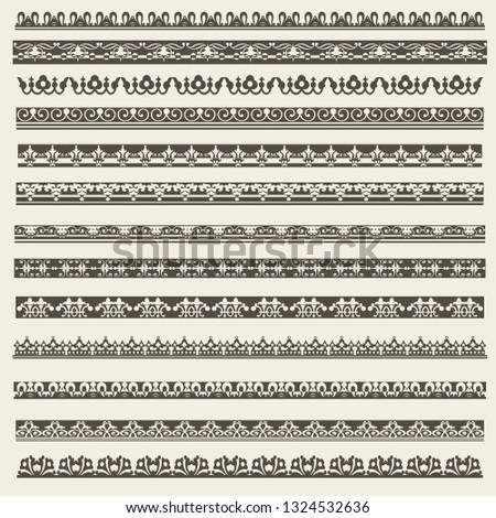 Decorative borders vector set  #1324532636