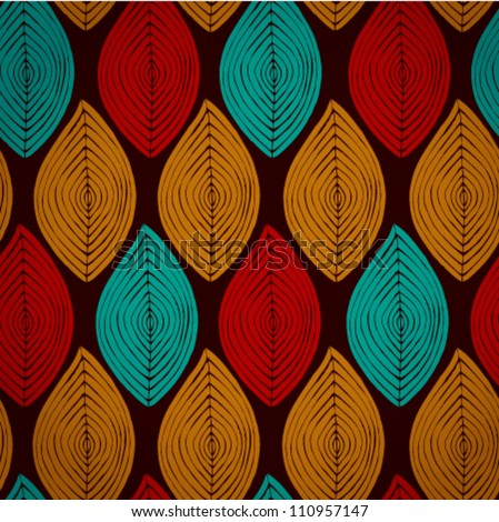 Decorative bright ethnic seamless pattern. Seamless leaves texture