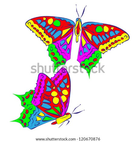 decorative butterfly color isolated on white vector
