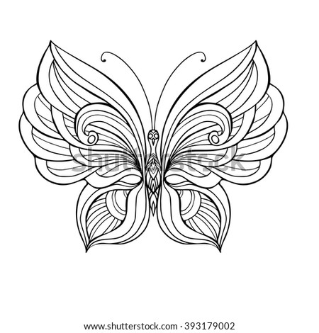 Decorative Butterfly Coloring Book For Adult And Older Children Page Outline Drawing