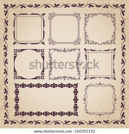 Decorative calligraphic frames - vintage style