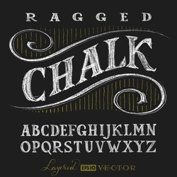 Decorative capital letters hand drawn on a chalkboard. Eps10. Transparency used. RGB. Global colors. Gradients free. Each elements are grouped separately