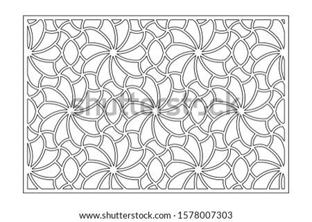Decorative card for cutting. Recurring Artistic Arab Mosaic pattern. Laser cut. Ratio 3:2. Vector illustration.