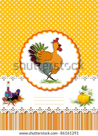 Decorative card  for Thanksgiving Day with Turkey and room for text.