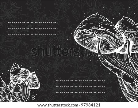 Decorative card with swirls, mushrooms and flowers