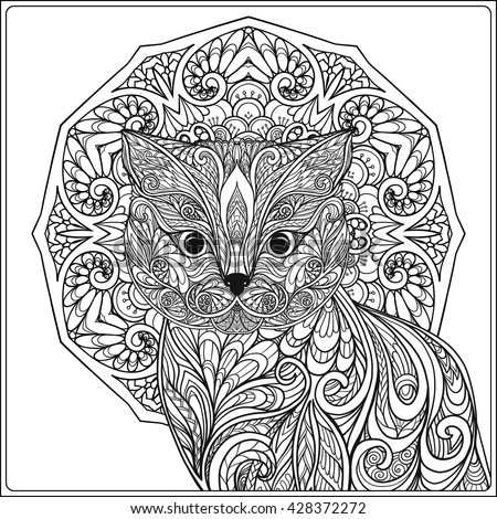 decorative cat with mandala