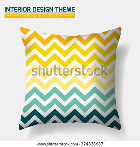 Decorative Cheerful Zig Zag Throw Pillow design template. Original pattern in Eco style is masked. Modern interior design element. Creative Sofa Toss Pillow. Vector design is layered, editable