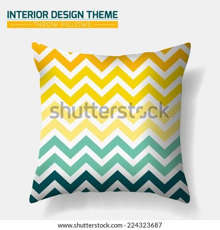 Decorative Cheerful Zig Zag Throw Pillow Design Template Original Pattern Is Complete Masked Modern