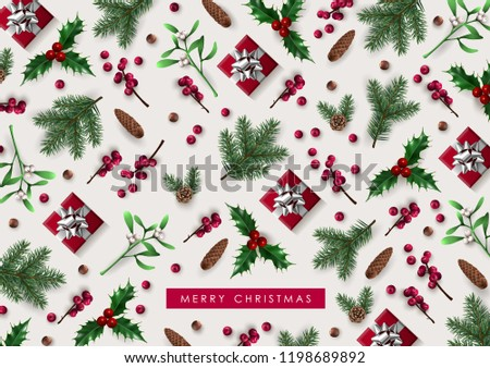 Decorative Christmas Background with Festive Elements #1198689892