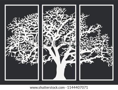 Decorative CNC Laser Cut MDF Large Winter Tree