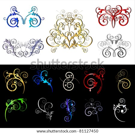 Decorative colored ornate border and frame elements