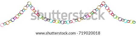 decorative colorful christmas paper chain vector illustration isolated on white background