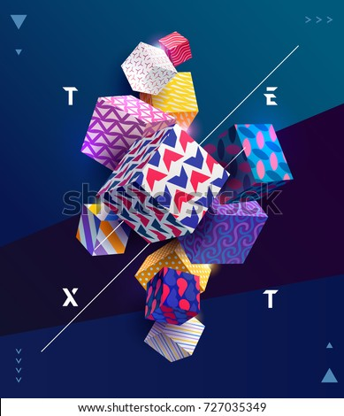 Decorative colorful 3D cubes. Poster template.