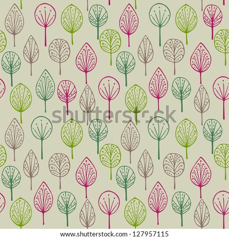Decorative colorful forest pattern. Endless ornamental linear abstract texture. Template for design and decoration