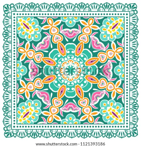 Decorative colorful ornament on white background, symmetric pattern with doodle lace frame. Tribal ethnic mandala decor. Bandana shawl, tablecloth fabric print, silk neck scarf, kerchief design