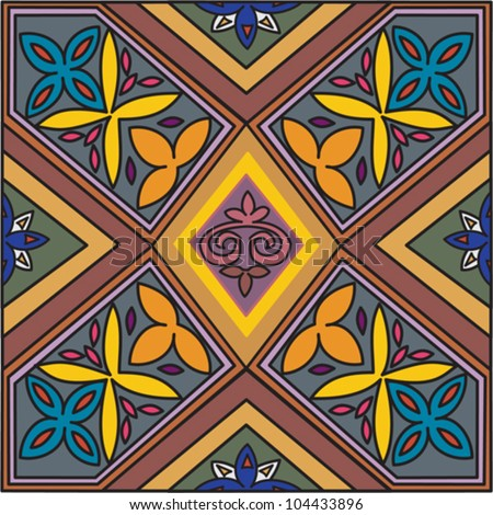 Decorative colorful pattern with a vibrant original African feel and stained glass influence - stock vector
