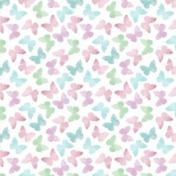 Decorative, colorful, watercolor, abstract butterfly pattern which can be used for design fabric, backgrounds,  wrapping paper.