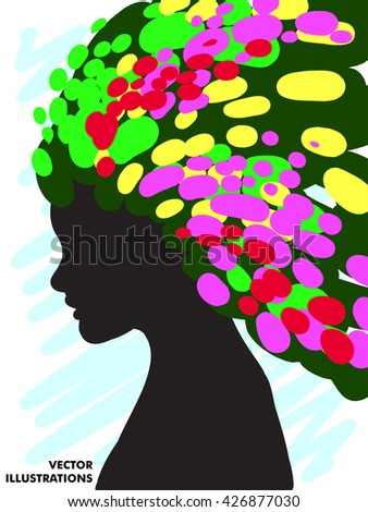 Decorative composition of girl silhouette with abstract hairstyle. hand-drawn. Individual corporate identity. It can be used as a postcard. Vector illustration