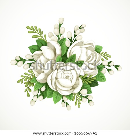 Decorative composition of white flowers and green leaves isolated on white background